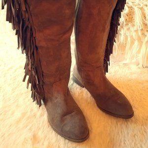 LANE BRYANT Brown Wide-Calf Fringe Boots